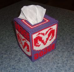 Plastic Canvas Dodge Tissue Box Cover