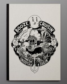 "Mcbess ""Booze Cruisin"" sketchbook for The Dudes."