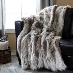 faux fur throw on sofa - Google Search