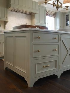 Benjamin Moore Silver Lake- Gray-Green for kitchen cabinets.