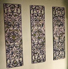 DIY Wrought Iron Artwork From Rubber Door Mat