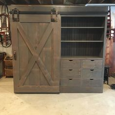 This Barn Door Cabinet is a stunning and versatile piece for media or other storage. Reclaimed Wood Furniture, Reclaimed Barn Wood, Barn Door Cabinet, Barn Doors, Weathered Grey Stain, Farmhouse Style Furniture, Hidden Storage, Cubbies, Tall Cabinet Storage