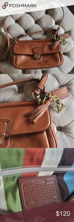 Coach City Willis Legacy Bag Unbelievable Coach City Willis Legacy cross body bag in cognac brown. A few scuffs of the leather that leather cleaner should be able to take care of. Clean multi colored satin interior. Coach Bags Crossbody Bags