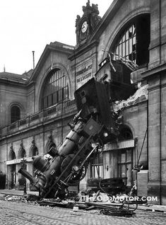 Train wreck at the paris france gare montparnasse terminal the