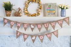 Some Bunny Is One Banner Easter 1st Birthday by SwankyBurlap