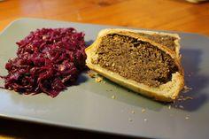 Gourmandises végétariennes: Vegane Linsenpastete mit Rotkraut