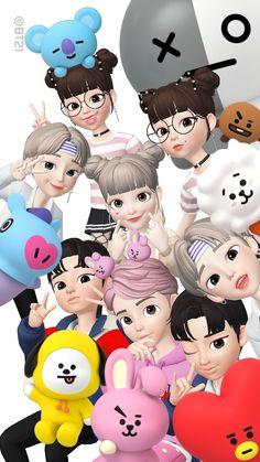 Anime Korea, Korea Wallpaper, Selfie Tips, Crazy Friends, Blackpink And Bts, Bare Bears, Kpop Fanart, Cartoon Wallpaper, Cartoon Art