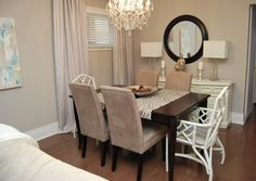 Love the lamps and side table with mirror. Neutral curtains. using sofa in dining room - Google Search