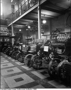 """Electric cars on display in """"Automobile Row,"""" Arts and Industries Building, late 1920's  #American #Automotive"""
