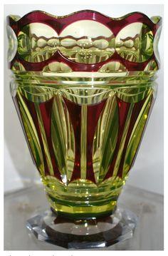 Val St Lambert Vase Midas - Vase cristal urane doublé rouge - Catalogue Cristaux de Fantaisie 1926.