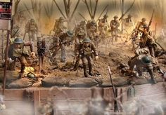 A beautiful WWI Diorama Featuring 1/32nd Scale Pre-painted Pewter Figures.