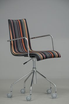 Parri Design, Italy: Office / Easy Office Armchair upholstered in Paul Smith's wool. Design: Marco Maran, born 1963.