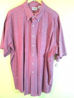 L.L. Bean Men's Red 100% Cotton Chambray S/S Button Front Shirt Size XXL #LLBean #ButtonFront
