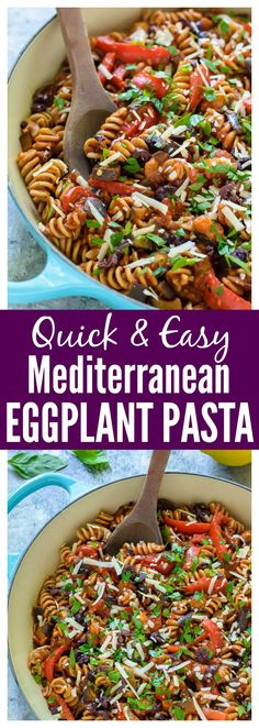 Quick and easy Mediterranean Eggplant Pasta. A healthy 30 minute meal! #glutenfree #eggplant #wholewheatpasta