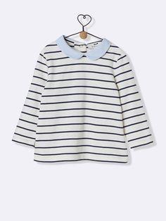 T-shirt rayé bébé - Rayé marine faux blanc - 1 60eb87c9e48