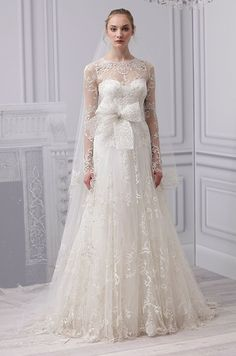 A beaded long sleeved #wedding dress from Monique Lhuillier, Spring 2013. this would be so pretty if the lace stopped at the shoulder instead of the full sleeve
