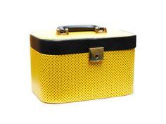 Vintage vanity case train luggage vinyl fabric bag by Aerosvar Black Dots, Black N Yellow, Vinyl Fabric, Vintage Vanity, Travel Stuff, Cosmetic Case, Vintage Handbags, Black Fabric, 1950s