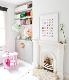 This is how I want my young person room. Just need shelves, cupboard, no lam flooring, cornice, new window and 1950's fireplace replaced... sigh