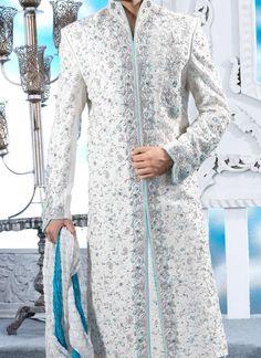 white and blue sherwani
