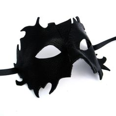 Black Leather Mask - Handmade and totally amazing on..