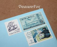 Reserved Custom Order for pepperlc12 .. Custom order of vintage postage stamps for mailing wedding invitations with a San Francisco California theme. Sold on Etsy by TreasureFox, $180.00