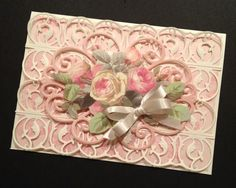 Shabby-Sweet Pink Rose and Lace All Occasion Card with Floral Anna Griffin Papers