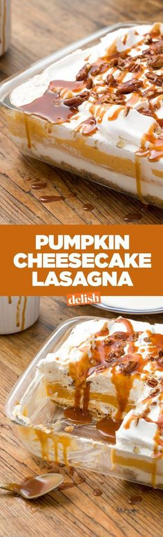Pumpkin cheesecake lasagna is actually better than sex. Get the recipe on Delish.com.