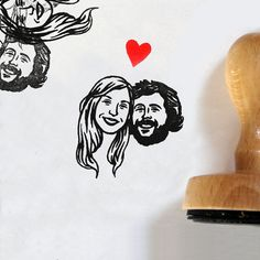 Decorate your wedding cards with your own couple portrait.    DRAWING MADE BY HAND*  STAMP FILLED WITH INK**  MOUNTED ON WOOD  LARGE HANDLE  WOODEN