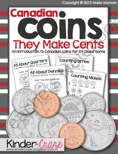 Canadian Coins: They Make Cents {Money Intro for Classrooms} Math Classroom, Kindergarten Math, Teaching Math, Teaching Ideas, Money Activities, Math Resources, School Resources, Learning Money, Early Learning