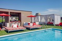 Tuuci Marine Grade Shade Equipment & Pavilion Outdoor Furniture Installation @ Vida Fitness Penthouse Pool in Washington DC