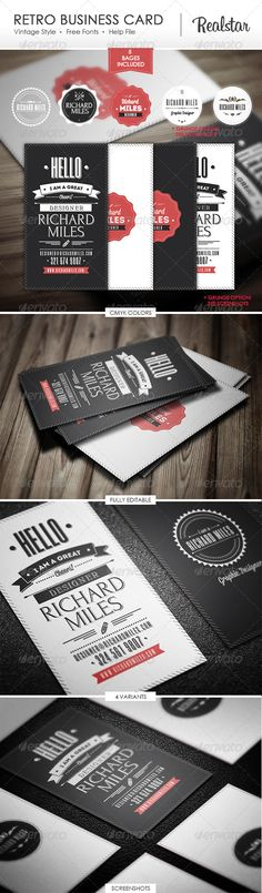 Retro Business Card   http://graphicriver.net/item/retro-business-card/4703221?WT.ac=portfolio_1=portfolio_author=Realstar