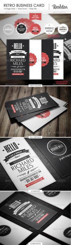 Retro Business Card   http://graphicriver.net/item/retro-business-card/4703221?WT.ac=portfolio_1=portfolio_author=Realstar