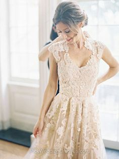 Womens A-line Champagne Tulle Appliques V-neck Lace Wedding Dresses #PWD00021495