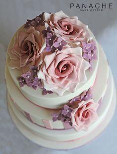 vintage cake contemporary rose hydrangeas striped wedding cakes London wedding cake sugar flowers purple pink ivory elegant pretty