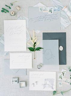 Blue hued wedding invitation suite | Photography: Callie Manion