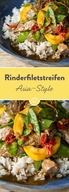 Asian beef fillet strips with ginger and rice-Asiatische Rinderfiletstreifen mit Ingwer und Reis The tender, juicy beef harmonises perfectly with crunchy sugar snap peas, butternut squash and the spiciness of ginger and chilli. Pork Chop Recipes, Grilling Recipes, Meat Recipes, Asian Recipes, Mexican Food Recipes, Cooking Recipes, Healthy Recipes, Ethnic Recipes, Vegetable Drinks