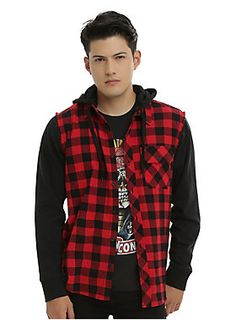<p>This woven top from RUDE looks like you took your favorite flannel and your favorite black hoodie, deconstructed them and then combined them in the best way possible. Except we did all the work for you! Long-sleeved woven top with a red and black buffalo check pattern, one front pocket, black fleece sleeves, detachable drawstring fleece hood and button-up closure. </p>  <ul> 	<li>58% cotton; 42% polyester</li> 	<li>Wash cold; dry low</li> 	<li>Imported</li> 	<li>Listed...