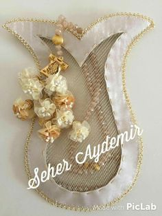 This Pin was discovered by Ayl Handmade Flowers, Handmade Crafts, Diy And Crafts, Gift Wraping, Potli Bags, Point Lace, Ribbon Work, Pearl Flower, Wire Art