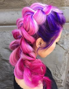 Pink And Purple Hair With Blonde Highlights
