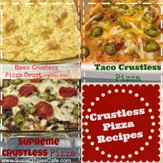 SusieQTpies Cafe: Easy Basic Crustless Pizza Crust and Pizza Recipes. Pizza Recipes, Gluten Free Recipes, Low Carb Recipes, Cooking Recipes, Healthy Recipes, Diabetic Recipes, Healthy Dishes, Casserole Recipes, Gooseberry Patch Cookbooks