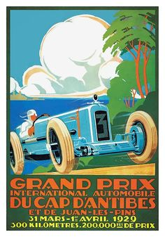 Antique 1929 racing poster promoting the Grand Prix in Cap D'Antibes,Antibes,Juan les Pins,vintage grand prix,france,french grand prix,vintage racing poster,vintage race car,moto gp,poster art,vintage automobile,racing,vintage advertising,Mediterranean,cannes,niece