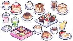 Pixel Art Food, Anime Pixel Art, Pixel Art Games, Food Art, Pretty Art, Cute Art, Chibi, Cute Food Drawings, Pix Art