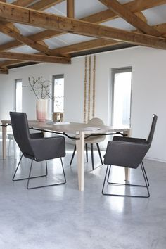 donna chairs in taurus leather dark grey with black powder coated frames