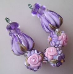 bliss lavender rose floral abundance and tulip lampwork bead mix