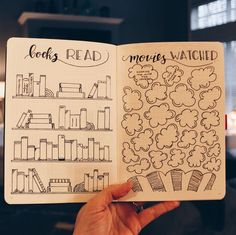 The prompt of the day is memories, and I have a few things going in my new to help me easily record all the fun things! This is my books read & movies watched spread 🙌 Bullet Journal Tracker, Bullet Journal School, Bullet Journal Lists, Bullet Journal Notebook, Bullet Journal Themes, Bullet Journal Spread, Bullet Journal Inspo, Bullet Journal Layout, Bullet Journals
