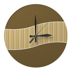 Modern kitchen wall clock with earth tone colors and stripes pattern. Earth Tone Colors, Earth Tones, Brown Wall Clocks, Kitchen Wall Clocks, Wall Clock Design, Modern Wall Decor, Kids Room, Stripes, Pattern