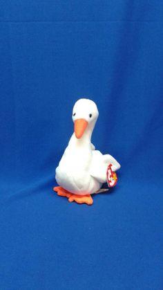 f5756046b5c GRACIE SWAN Ty Original Beanie Baby plush toy bird white fur Orange feet  beak rare retired Like new collectibleb pe pellets