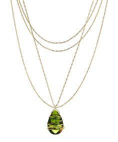 Look at this Peridot Quartz Wrapped Multi-Strand Pendant Necklace on #zulily today!
