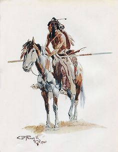 """1903 Charles Russell, Western Art, Indian, Native American Paint Horse, 22""""x16"""""""