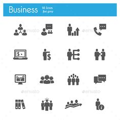 Business strategy flat gray icons